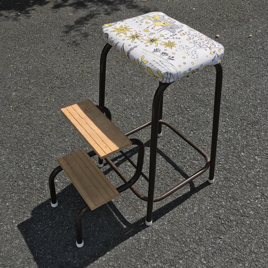 Vintage Folding Step Stool With Padded Seat