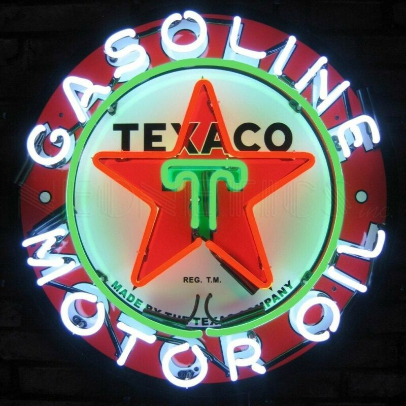"Texaco Fire Motor Oil Banner Neon Sign 24""x24"" 5TXOIL"