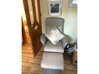Recliner leather effect chair and matching footstool
