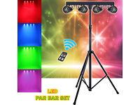 Complete Lighting Rig Setup 4 LED Flood Lights Stand Cables Brackets DJ Band Bar Club Stage Party