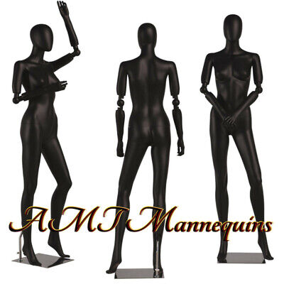 Female Mannequin Full Body Flexible Articulate Arms High End Black Manikin