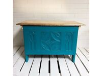 Vintage upcycled teal blue and gold coffer / blanket chest / storage chest