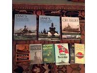 Naval Books, Jane's Fighting Ships WW1 & 2, Cruisers etc