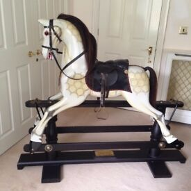 Fabulous Traditionally made Wooden Rocking Horse. Leather tack, real horse hair mane & tail.