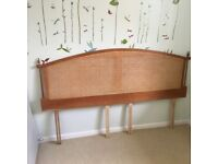 Super King Headboard in cherry wood and woven cane