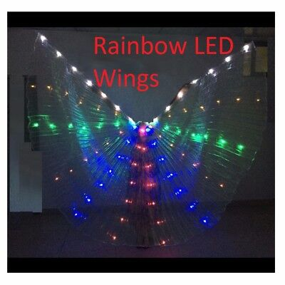 Costumes That Light Up (Halloween LED Rainbow Wings that Light Up for Dress Costume Cosplay Fairy)
