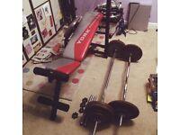 Home Gym Bundle - Folding YORK Bench w/ 80kg Cast Iron Weights, Barbell, EZ bar + Dumbbells
