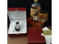 New boxed with papers brown bracelet white dial butterfly deployment clasp cartier santos watch Auto