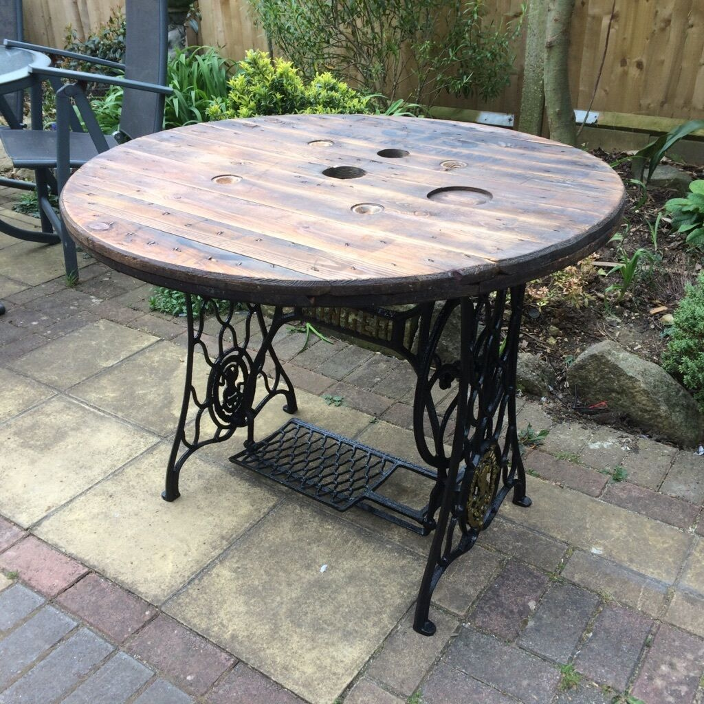 Reclaimed Cast Iron Singer Cable Drum Top Table Ideal Dining Table Garden Table