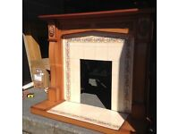 Fire surround with Tile hearth and back panel