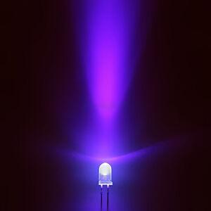 100 Stk.a0408 LEDs 5mm UV Schwarz licht runde 1000mcd uv LED Leuchtdioden Diode
