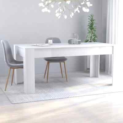 vidaXL Dining Table Sleek Modern White Chipboard Home Kitchen Meal Dinner