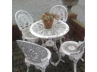 Cast aluminium garden table & chairs