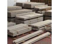 Concrete fence post, base panels, gravel boards
