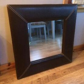 Brown leather mirror