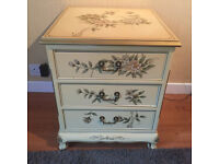 Lacquered Cabinet 3 Drawers. Bird & flower pattern. Bedside or Sideboard. Solid wood. Chinese style