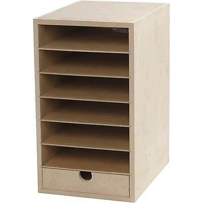A5 Paper Card Storage Filing Cabinet Mdf Wood Wooden Strong 6 Shelves 1 Drawer