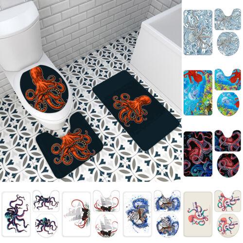 3Pcs Bathroom Non-Slip Ethnic Mandala Pedestal Rug+Lid Toilet Cover+Bath Mat