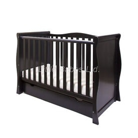 black sleigh 3 in 1 cot/junior bed/sofa bed in box with mattress