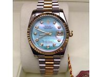 New Mens bagged and boxed two tone bracelet with green mother of pearl face Rolex datejust automatic