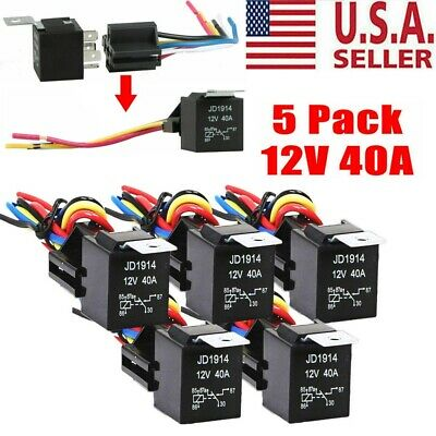 5 Pack 12v 3040 Amp 5-pin Spdt Automotive Relay With Wires Harness Socket Set