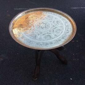 Brass tray top table
