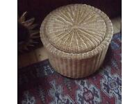 Wicker storage stools with lids