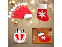 Christmas Cutlery Holder Pocket Bags for Forks Spoons Xmas Decor, Santa Hats or Socks