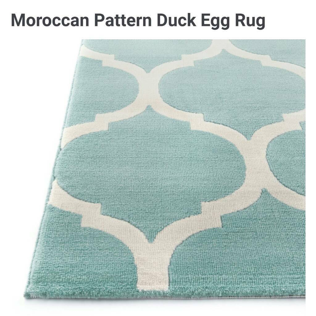 **BRAND NEW** Moroccan Pattern Duck Egg Rug