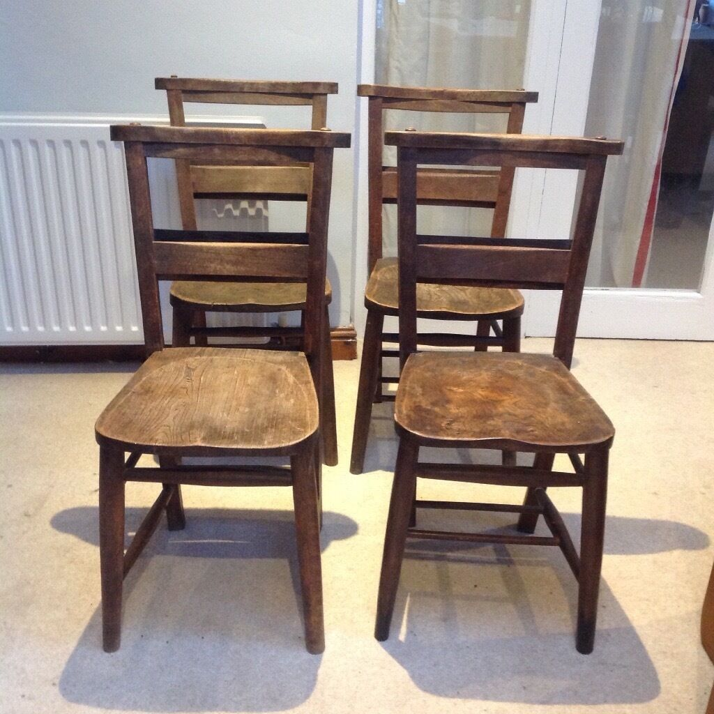 Vintage wooden church chairs with bible shelf at back of chair – Wooden Church Chairs