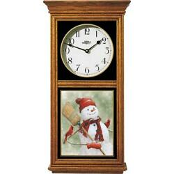 Snowman and Cardinals Oak Regulator Wall Clock
