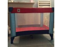 Little shield travel cot in red and blue - great condition