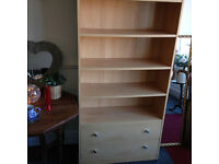 Very Nice Light Beech Effect Bookcase with Drawers