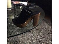 Carvela high heeled black mules. Size 4