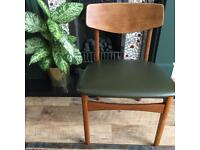 Set of 4 green leather Ercol style dining chairs