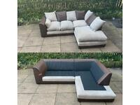 brown / beige fabric corner sofa can be delivered