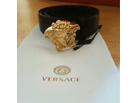 Versace Mens Belt Black And Gold