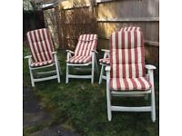 Reclining garden chairs x 4 with cushions