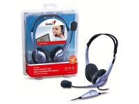 Brand New Genius HS-04SU Stereo Headset with Noise-Cancelling Microphone For VoIP Chatting & Gaming