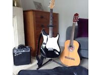 Child's acoustic and electric guitar with amp and stand
