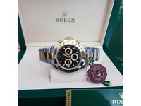 New Mens bagged and boxed two tone bracelet black face Rolex Daytona automatic sweeping movement