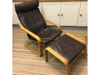 IKEA Poang armchair and footstool in dark brown leather with oak frame