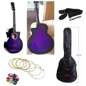 Acoustic Cutaway 38 Inche Guitar Purple Color- Perfect for Kids and Adult birthday - Your Ultimate Starter Kit