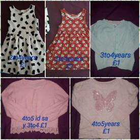 Big bundle of girls 2to5years £1each item or deal on more than 2. Sizes on pics