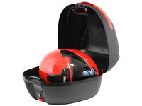 Ryde 32l Matt Black Motorcycle Helmet Top Box with Built In LED Light