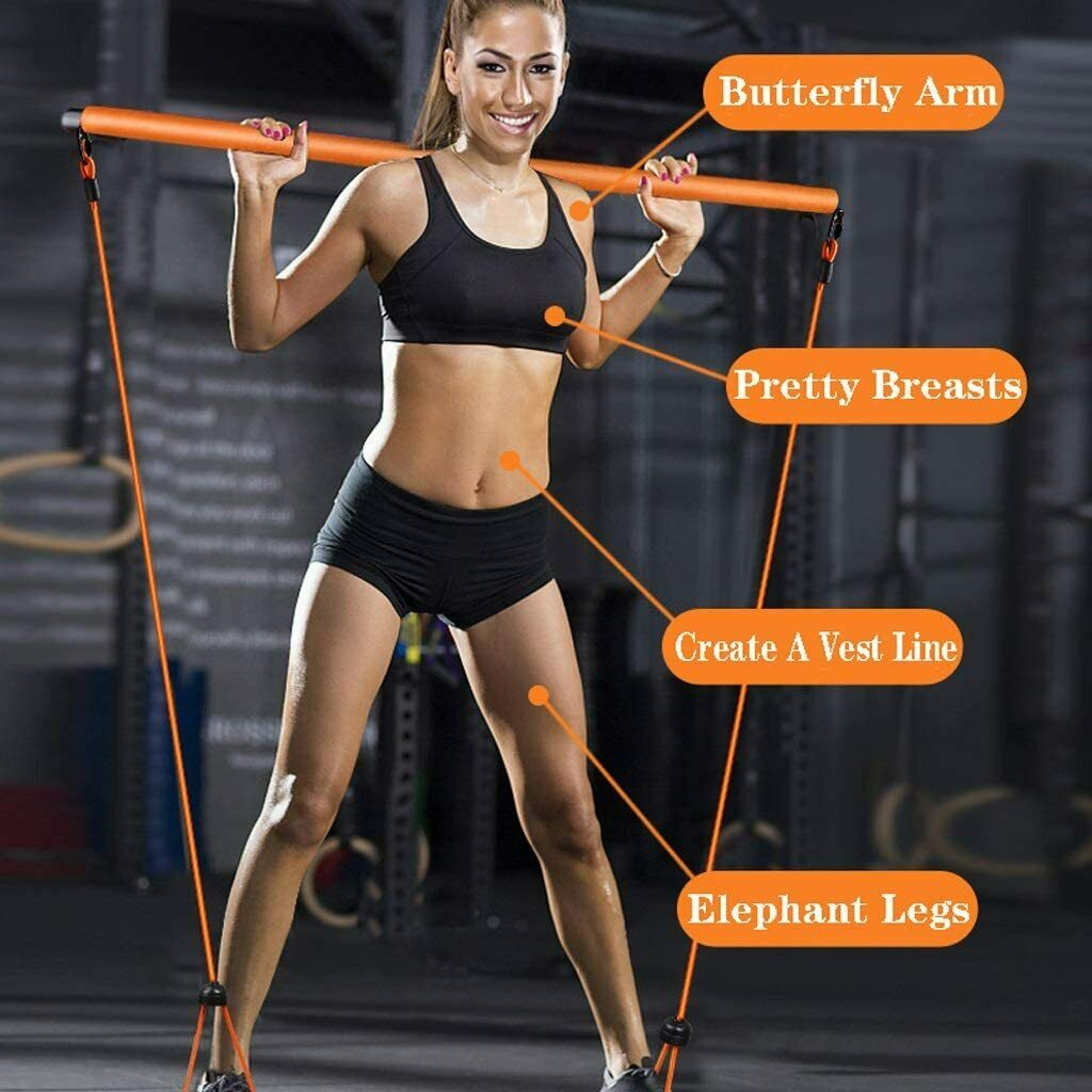 Pilate Stick Yoga Stretch Resistance Band Portable Full Body Exercise Push-up Fitness Equipment & Gear