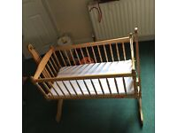 Swinging baby cot/crib for 3months and over baby: £30
