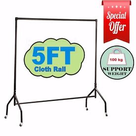 HEAVY DUTY 5FT WIDE CLOTHES RAILS GARMENT FOR HOME SHOP STORAGE DISPLAY