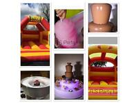 Bouncy castle, chocolate fountain, Candyfloss, wedding cakes, cakes, cupcakes, fruit displays