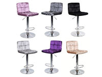 LATEST CRUSHED VELVET Breakfast Bar Kitchen Stools Swivel Dining Office Home Stool Chair Barstool